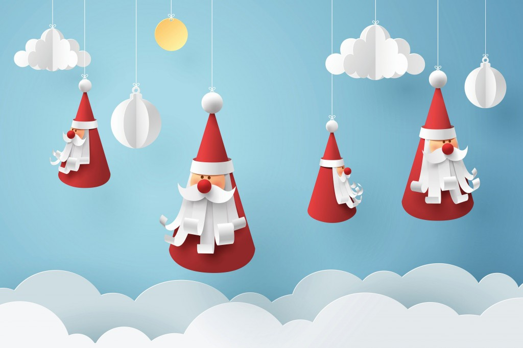 Paper art of Santa claus hang with rope on sky, happy new year c